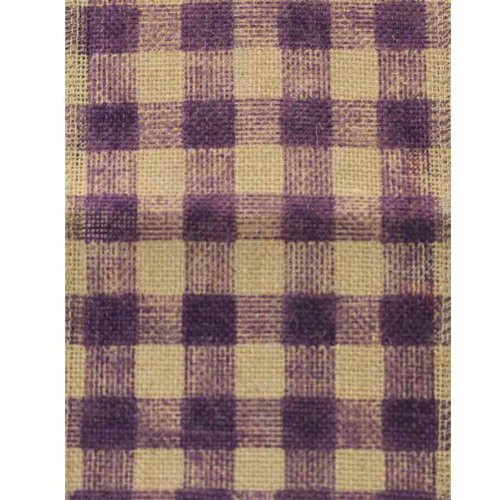 "6"" Wide x 10 Yards Checker Design Natural Burlap Ribbon (Purple)"