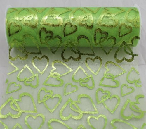 "6"" wide x 10 Yards Hearts Pattern Organza Sheer Fabric Ribbon for Decorating, Floral Designing and Crafts (Green)"