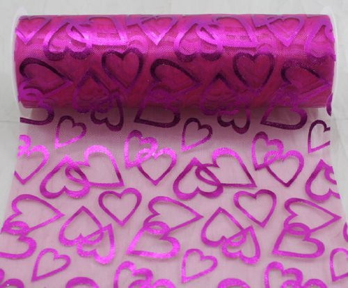 "6"" wide x 10 Yards Hearts Pattern Organza Sheer Fabric Ribbon for Decorating, Floral Designing and Crafts (Hot Pink)"