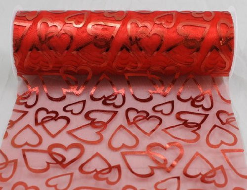 "6"" wide x 10 Yards Hearts Pattern Organza Sheer Fabric Ribbon for Decorating, Floral Designing and Crafts (Red)"