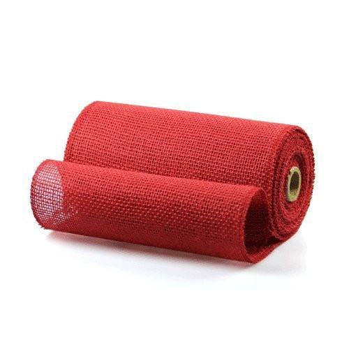 9 Inch Burlap Jute Ribbon Table Runner for Rustic Wedding Decor, Party Decorations, Floral Arrangements, Craft Projects (Red)