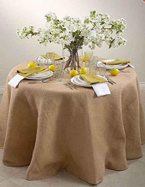 Round 90-Inch Jute Burlap Table Overlay Table Cover - Natural. Made In USA.