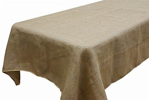 "AK TRADING Rectangle Rustic Burlap Tablecloth, 60"" x 120"", Natural"