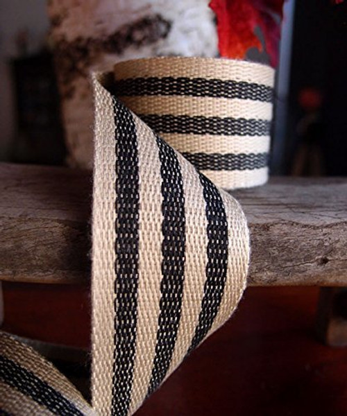 "AK-Trading 1.5"" inches x 10 Yards Black Striped Faux Burlap Ribbon for Decoration, Gift Wrapping & Crafting (Black Stripe)"