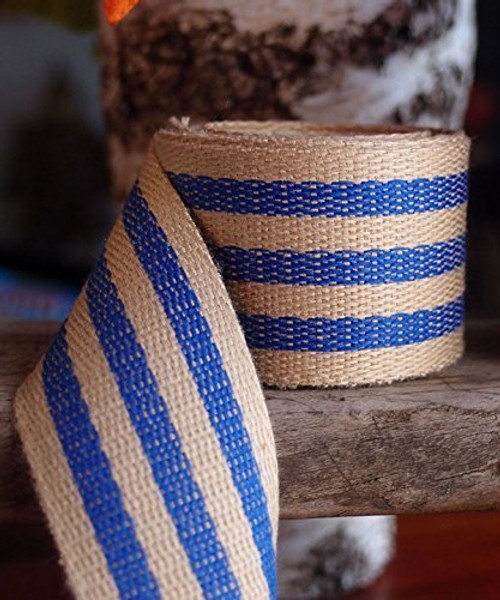 "AK-Trading 1.5"" inches x 10 Yards Blue Striped Faux Burlap Ribbon for Decoration, Gift Wrapping & Crafting (Blue Stripe)"