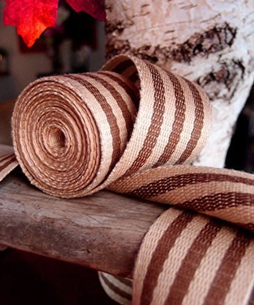 "AK-Trading 1.5"" inches x 10 Yards Brown Striped Faux Burlap Ribbon for Decoration, Gift Wrapping & Crafting (Brown Stripe)"