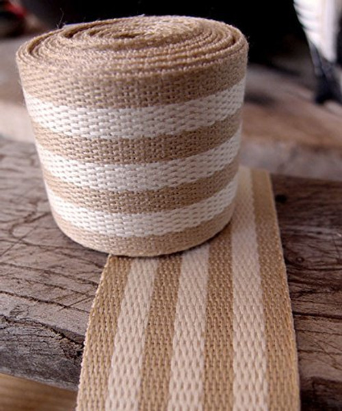 "AK-Trading 1.5"" inches x 10 Yards Ivory Striped Faux Burlap Ribbon for Decoration, Gift Wrapping & Crafting (Ivory Stripe)"