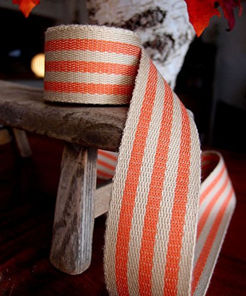 "AK-Trading 1.5"" inches x 10 Yards Orange Striped Faux Burlap Ribbon for Decoration, Gift Wrapping & Crafting (Orange Stripe)"