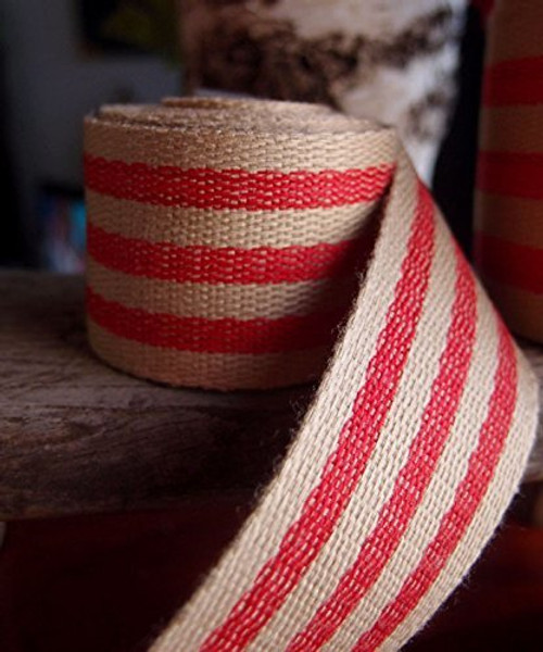 "AK-Trading 1.5"" inches x 10 Yards Red Striped Faux Burlap Ribbon for Decoration, Gift Wrapping & Crafting (Red Stripe)"