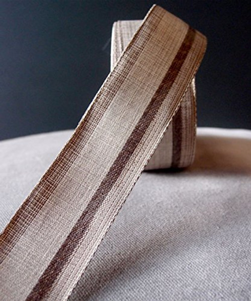 "AK-Trading 1.5"" Inches X 10 Yards Vintage Cloth Striped Ribbon (Natural)"