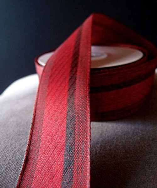 "AK-Trading 1.5"" Inches X 10 Yards Vintage Cloth Striped Ribbon (Red)"