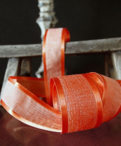 "AK-Trading 1.5"" x 25 Yards Faux Linen Ribbon with Satin Edge - Select From 3 Sizes and 14 Colors (Autumn)"