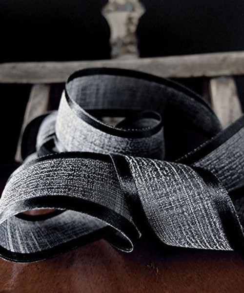 "AK-Trading 1.5"" x 25 Yards Faux Linen Ribbon with Satin Edge - Select From 3 Sizes and 14 Colors (Black)"