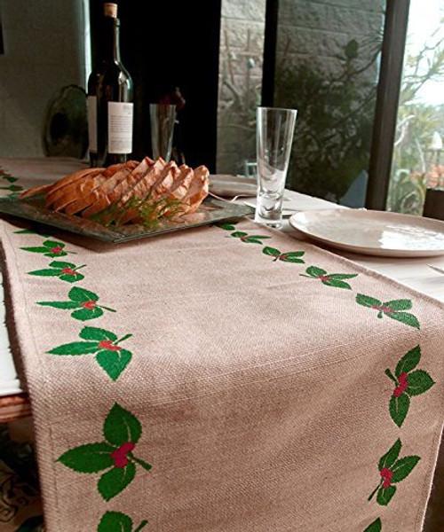 """AK-Trading 13"""" x 180"""" Juco Burlap & Cotton Blend Christmas Table Runner (Mistletoe)"""