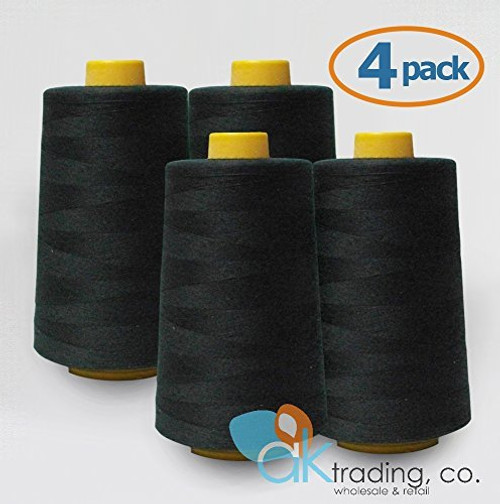 AK-Trading 4-Pack BLACK Serger Cone Thread (6000 yards each) of Polyester thread for Sewing, Quilting, Serger #653