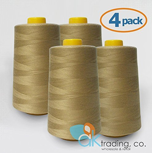 AK-Trading 4-Pack CAMEL Serger Cone Thread (6000 yards each) of Polyester thread for Sewing, Quilting, Serger #725