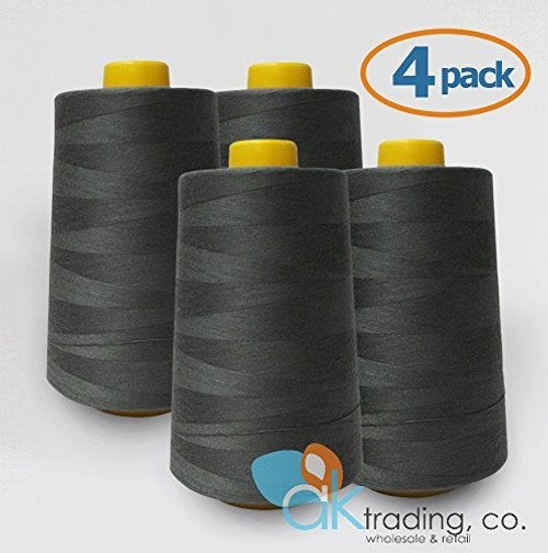 AK-Trading 4-Pack DARK GRAY Serger Cone Thread (6000 yards each) of Polyester thread for Sewing, Quilting, Serger #900