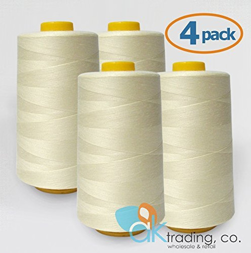 AK-Trading 4-Pack IVORY Serger Cone Thread (6000 yards each) of Polyester thread for Sewing, Quilting, Serger #701