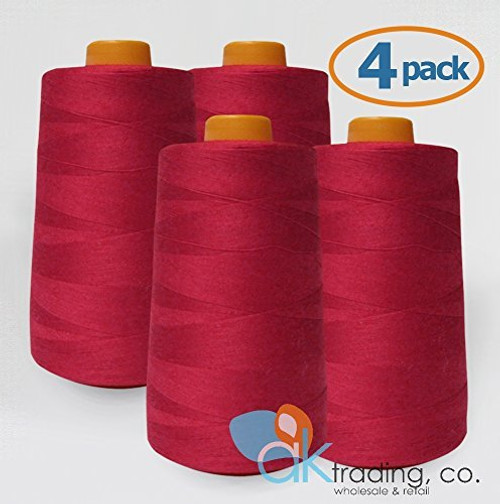 AK-Trading 4-Pack RED Serger Cone Thread (6000 yards each) of Polyester thread for Sewing, Quilting, Serger #613