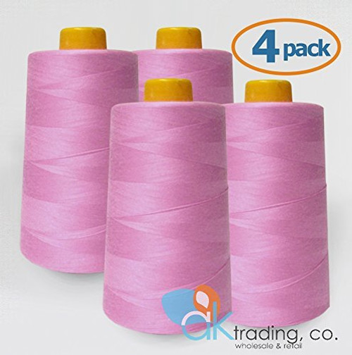 AK Trading 4-Pack ROSE PINK All Purpose Sewing Thread Cones (6000 Yards Each) of High Tensile Polyester Thread Spools for Sewing, Quilting, Serger Machines, Overlock, Merrow & Hand Embroidery.…