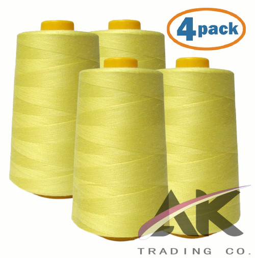 4-Pack YELLOW Serger Cone Thread (6000 yards each) of Polyester thread for Sewing, Quilting, Serger #712