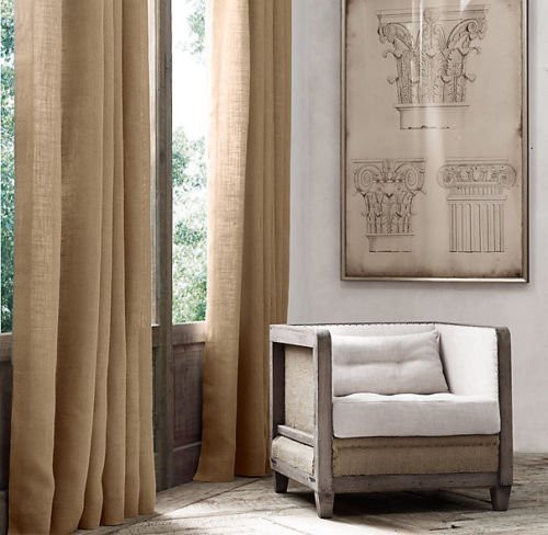"""AK-Trading Burlap Drape Panel 2pc Set Backdrop 100% Jute Curtain 5ft x 6ft (60"""" X 72"""") Natural"""