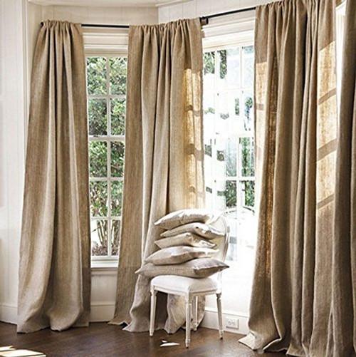 "AK-Trading Burlap Drape Panel Backdrop 100% Jute Burlap Window Curtain Panel - MADE IN USA (48"" High x 58"" Wide)"