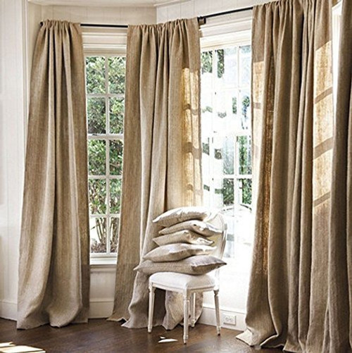 "AK-Trading Burlap Drape Panel Backdrop 100% Jute Burlap Window Curtain Panel - MADE IN USA (60"" High x 58"" Wide)"