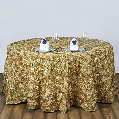 AK-Trading Tablecloth 108-Inch Round Rose Grandiose Rosette Tablecloth Tablecover (Champagne)