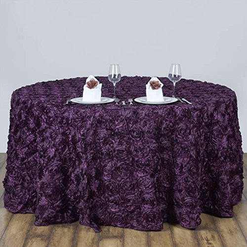 AK-Trading Tablecloth 108-Inch Round Rose Grandiose Rosette Tablecloth Tablecover (Eggplant)