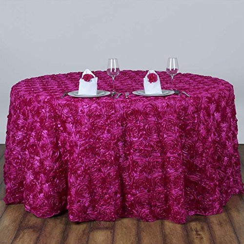 AK-Trading Tablecloth 108-Inch Round Rose Grandiose Rosette Tablecloth Tablecover (Fuchsia)