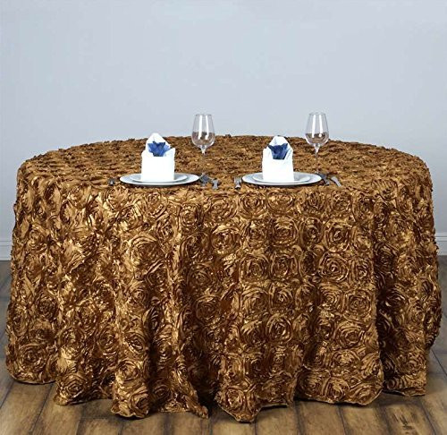 AK-Trading Tablecloth 108-Inch Round Rose Grandiose Rosette Tablecloth Tablecover (Gold)