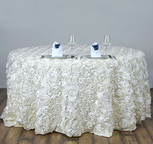 AK-Trading Tablecloth 108-Inch Round Rose Grandiose Rosette Tablecloth Tablecover (Ivory)