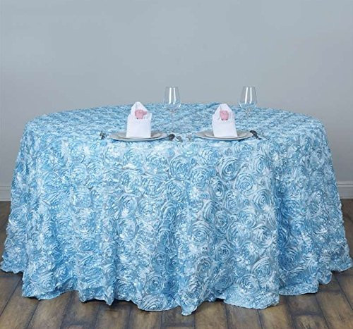 AK-Trading Tablecloth 108-Inch Round Rose Grandiose Rosette Tablecloth Tablecover (Light Blue)