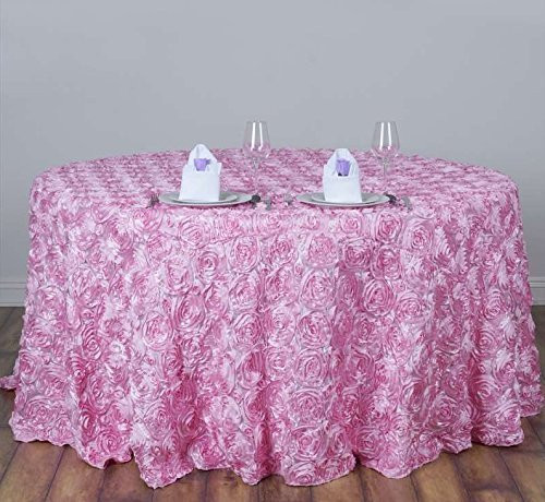 AK-Trading Tablecloth 108-Inch Round Rose Grandiose Rosette Tablecloth Tablecover (Pink)