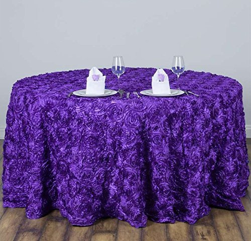 AK-Trading Tablecloth 108-Inch Round Rose Grandiose Rosette Tablecloth Tablecover (Purple)