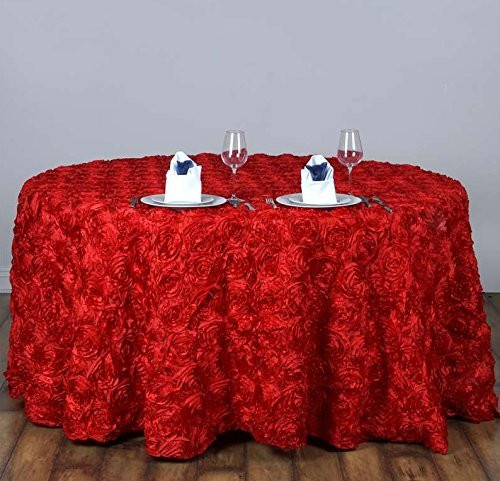 AK-Trading Tablecloth 108-Inch Round Rose Grandiose Rosette Tablecloth Tablecover (Red)