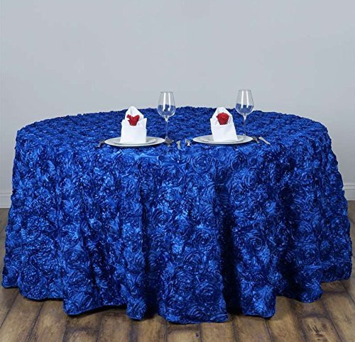 AK-Trading Tablecloth 108-Inch Round Rose Grandiose Rosette Tablecloth Tablecover (Royal Blue)