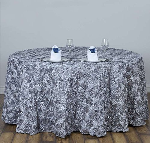 AK-Trading Tablecloth 108-Inch Round Rose Grandiose Rosette Tablecloth Tablecover (Silver)