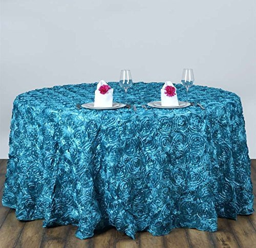 AK-Trading Tablecloth 108-Inch Round Rose Grandiose Rosette Tablecloth Tablecover (Turquoise)
