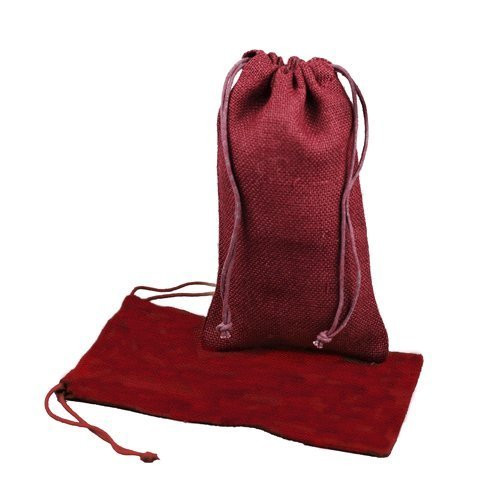 """Burlap Jute Favor Bags (Pack of 12) - Select From 8 Colors Available in 3 Sizes (3""""x5"""", Burgundy)"""