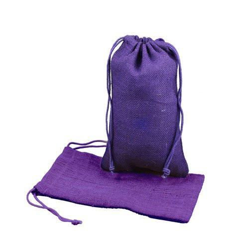 """Burlap Jute Favor Bags (Pack of 12) - Select From 8 Colors Available in 3 Sizes (3""""x5"""", Purple)"""