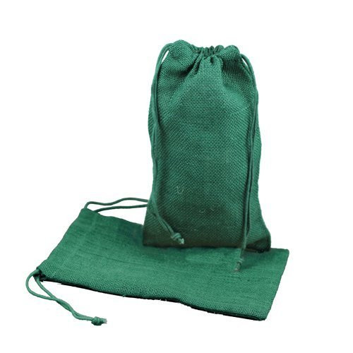 """Burlap Jute Favor Bags (Pack of 12) - Select From 8 Colors Available in 3 Sizes (5""""x7"""", Hunter Green)"""