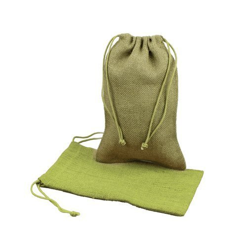 """Burlap Jute Favor Bags (Pack of 12) - Select From 8 Colors Available in 3 Sizes (5""""x7"""", Moss)"""