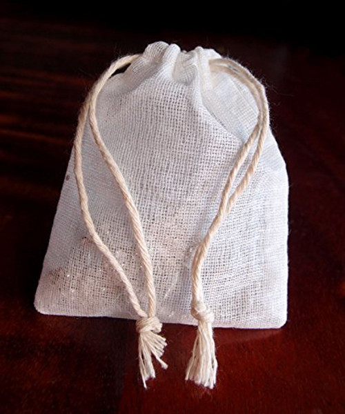 "Cotton Muslin Favor Bags (Pack of 12) - Select From 8 Different Sizes (3""x4"")"