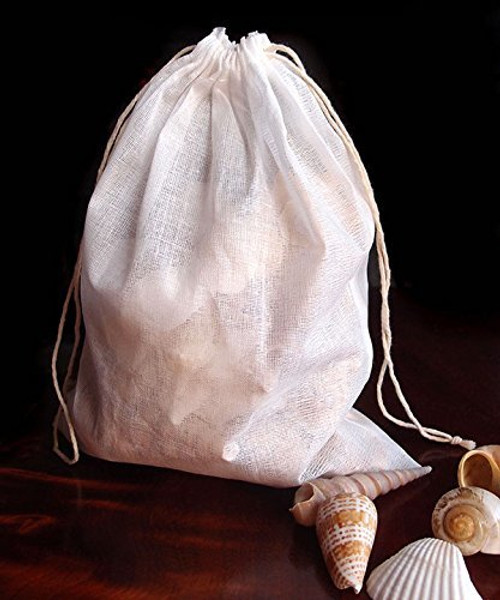 "Cotton Muslin Favor Bags (Pack of 12) - Select From 8 Different Sizes (8""x10"")"