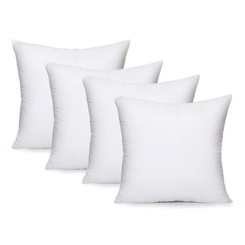 "AK TRADING CO. Square Poly Pillow Insert, 18"" L X 18"" White - 4 Pack"