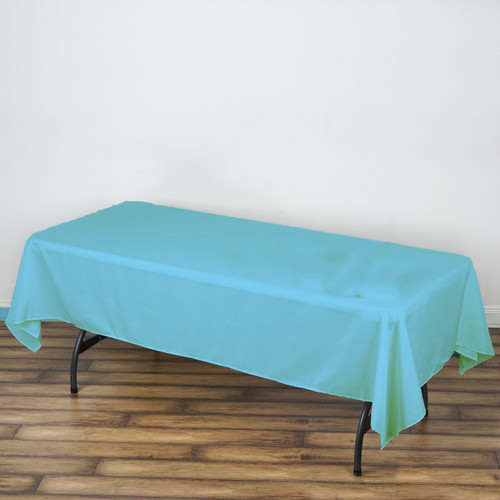 Light Blue 100% Polyester Rectangular Tablecloth 60 x 102""