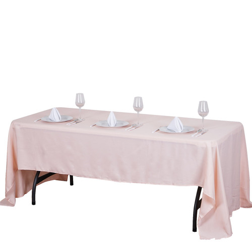 Blush Pink 100% Polyester Rectangular Tablecloth 60 x 102""