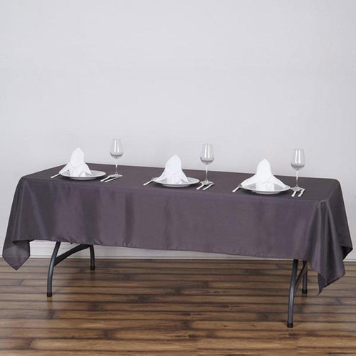 Charcoal 100% Polyester Rectangular Tablecloth 60 x 102""